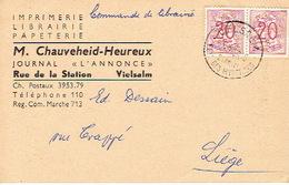 CP Publicitaire - VIELSALM  1959 - M. CHAUVEHEID-HEUREUX - Imprimerie - Papeterie - Librairie - Vielsalm