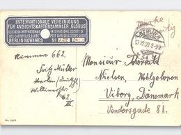 Blaue VIGNETTE Blue LABEL Internationale Vereinigung Für Ansichtskartensammler GLOBUS Nowawes Sent 1909 To Denmark - Ansichtskarten
