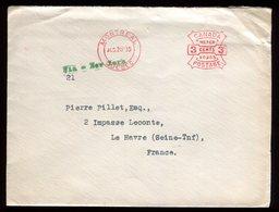 Canada - Enveloppe De Montréal Pour Le Havre E 1935 Via New York , Affranchissement Mécanique - Réf O61 - 1911-1935 Règne De George V