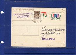 ##(DAN1810)-1976-cartolina Postale L.20 Filagrano C176 Usata Come Ricevuta Di Ritorno A Gallipoli (Lecce) - 6. 1946-.. Repubblica