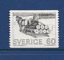 SUEDE 1971 TRAINEAU  A BOIS  YVERT N°691  NEUF MNH** - Sweden