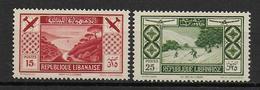 GRAND LIBAN - POSTE AERIENNE - RARES YVERT N° 55/56 * CHARNIERE LEGERE - COTE = 180 EUR. - Grand Liban (1924-1945)