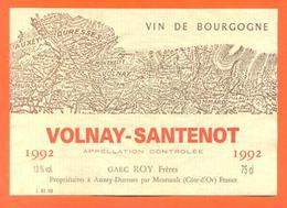étiquette Vin De Bourgogne Volnay Santenot 1992 Roy Frères à Auxey Duresses - 75 Cl - Bourgogne