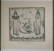 Ex-libris Illustré Italie XXème - Antonio PETRALIA Par Alberto Helios GAGLIARDO - Scientia, Omnia, Fides - Ex-libris