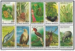 1997 INDONESIE 1549-58** Animaux, Fleurs; Aigle, Orchidée - Indonesia