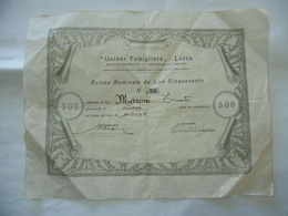 SCRIPOFILIA AZIONE DA LIRE 500 COOPERATIVA UNIONE FAMIGLIARE LOZZA VARESE 1949 - Azioni & Titoli