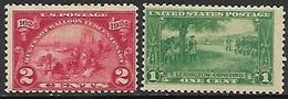US 1924-5  Sc#615 2c  Huguenot-Walloon & #617 1c Lexington MLH   2016 Scott Value $6.10 - United States