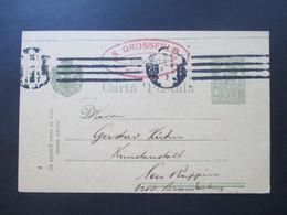 Rumänien 1918 / 20 Ganzsache P60 ?! Roter Stempel S. Grossfeld Buga Nach Neu Ruppin An Gustav Kühn Kunstanstalt - Covers & Documents