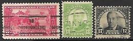 US  1925   Sc#618, 622-3   Used   2016 Scott Value $5.05 - Etats-Unis