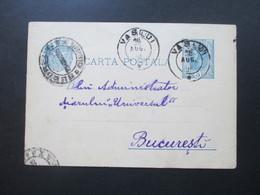 Rumänien 1895 Ganzsache Mit 4 Stempel. Vaslui Nach Bukarest / Bucuresti - 1881-1918: Charles I
