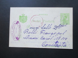 Rumänien 1913 Ganzsache Mit Violettem Stempel!! Tanase J. Apostol Comersent Vrata (Mebedinti) - 1881-1918: Charles I