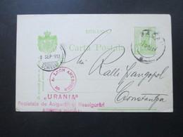 Rumänien 1913 Ganzsache Mit Violettem Stempel!! A. Leon Antoscher Urania. Bacau - 1881-1918: Charles I