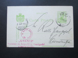 Rumänien 1913 Ganzsache Mit Violettem Stempel!! A. Leon Antoscher Urania. Bacau - Covers & Documents