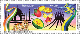 BRAZIL Diplomatic Relations India Church Tiger Bird Fruit 2018 - Brasil