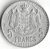 1 Pièce De Monnaie 5 Francs 1945 - Monaco