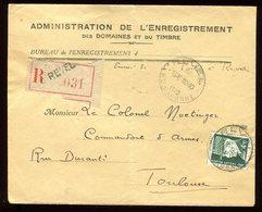 Enveloppe En Recommandé De Revel Pour Toulouse En 1942 - Réf O80 - Poststempel (Briefe)