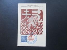 CSSR 1938 Sonderkarte Mit Zweifarbigem Stempel Praha 1 Hockes Sur Glace - Tschechoslowakei/CSSR