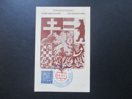 CSSR 1938 Sonderkarte Mit Zweifarbigem Stempel Praha 1 Hockes Sur Glace - Czechoslovakia