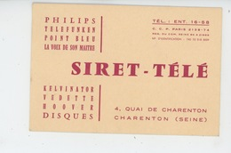 CHARENTON LE PONT - Carte Pub Des Ets SIRET - TÉLÉ , 4 Quai De Charenton  (en 1961) - Charenton Le Pont