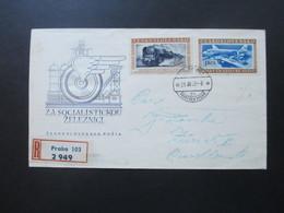 CSSR 1953 FDC Transportwesen. Eisenbagn / Flugzeug. Einschreiben In Die Schweiz MitZusatzfrankatur Rückseitig! - Briefe U. Dokumente