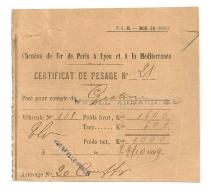 1899 CERTIFICAT DE PESAGE MARSEILLE PRADO / CHEMIN DE FER DE PARIS A LYON A LA MEDITERRANEE PLM  B91 - Railway