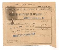 1908 SOUCHE DU  CERTIFICAT DE PESAGE MARSEILLE PRADO / CHEMIN DE FER DE PARIS A LYON A LA MEDITERRANEE PLM  B92 - Railway