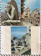 8AK3135 Lot De 5 Cartes PARIS CHIMERES DE NOTRE DAME  2 SCANS - Notre Dame De Paris