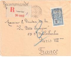 TAMATAVE Madagascar Lettre Recommandée Etiquette Ob 12 11 1929 Transport Filanzane 1,50 F Sur 1 F Bleu Yv 152 - Madagaskar (1889-1960)
