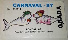 Antigua Entrada Concurso De Rondallas - Carnaval De Tenerife 1987 - Tickets - Entradas