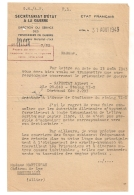 1943 SECRETARIAT D'ETAT A LA GUERRE / STALAG VI D / ETAT FRANCAIS   / PRISONNIERS DE GUERRE  / 7EME BUREAU B97 - Historische Dokumente