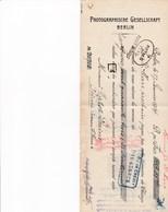 BERLIN GESELLSCHAFT PHOTOGRAPHISCHE CACHET TAMPON ANNEE 1914 A MR MATOT PRAINE A REIMS - Petits Métiers