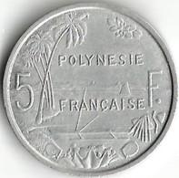 1 Pièce De Monnaie 5  Francs 1975 - French Polynesia