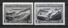 LIECHTENSTEIN - POSTE AERIENNE - YVERT N° 7/8 * CHARNIERE CORRECTE - COTE = 220 EUR. - ZEPPELIN - Liechtenstein