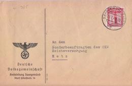 Lettre Préimprimée De Sarreguemines (T 327 Saargemünd 2 BHF C) TP Service 12pf=1°éch Le 26/7/42  Pour Metz - Storia Postale
