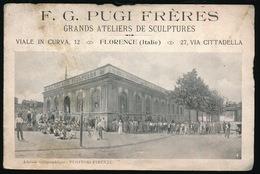 F.G. PUGI FRERES GRANDS ATELIERS DE SCULPTURES  VIALE IN CURVA 12 FLORENCE  27 VIA CITTADELLA  3 SCANS - Publicités