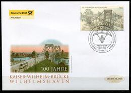 """First Day Cover Germany 2007 Mi.Nr.2616 Bogenmarke""""Brücken VII,100 Jahre Kaiser-Wilhelm-Brücke,Wilhelmshaven """"1 FDC - Brücken"""
