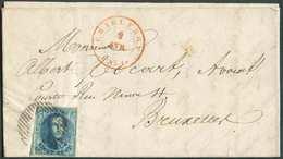 N°4 - Médaillon 20 Centimes Bleu, Bien Margé Et Voisin à Gauche, Obl. P.25 Sur Lettre De CHARLEROI Le 2 Avril 1851 Vers - 1849-1850 Médaillons (3/5)