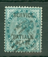 India - Patiala: 1891/1900   Official - QV 'Patiala State' 'Service'   OVPT  SG O8    ½a    Used - Patiala