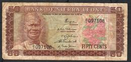 SIERRA LEONE  P4a  50  CENTS   1972 FIRST  PREFIX D/1   Fine NO P.h. - Sierra Leone