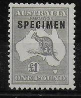 "AUSTRALIE - YT N° 45 * MLH SURCHARGE ""SPECIMEN"" FILIGRANE A - CHARNIERE TRES LEGERE - COTE = 650EUR. - 1913-48 Kangaroos"