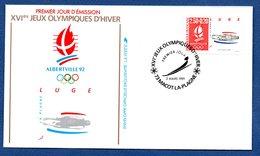 Enveloppe Premier Jour  / Jeux Olympiques Albertville / Luge / Macot La Plagne / 2 Mars  1991 - FDC