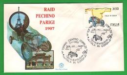 Raid Pechino Parigi FDC Filagrano Da 3150 Lire 1989 Annullo Torino Serie ITALIA IN CORSA - 6. 1946-.. Republic