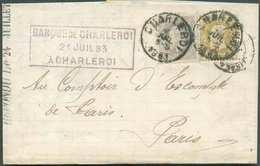 N°32-35 – 25 Cent. Bistre Et 50 Cent. Gris, Obl. Sc CHARLEROI S/L. Du 2 Juillet 1883 Vers Paris. Triple Port Pour La Fra - 1869-1883 Leopold II