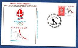 Enveloppe Premier Jour  / Jeux Olympiques Albertville / Ski De Fond  /  Les Saisies /  2 Février 1991 - FDC