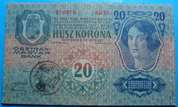 FIUME - RIJEKA 20 KRONEN ND 1918 (OLD DATE 1913), ITALY, CROATIA, AUSTRIA, HUNGARY, SEAL ON REVERSE, ORIGINAL SEAL, RARE - Croacia