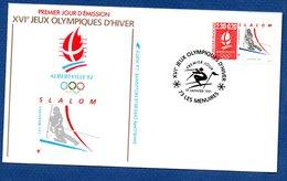 Enveloppe Premier Jour  / Jeux Olympiques Albertville / Slalom /  Les Menuires  /  19 Janvier 1991 - FDC