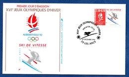 Enveloppe Premier Jour  / Jeux Olympiques Albertville / Ski De Vitesse  /  Les Arcs  /  29 Décembre 1990 - FDC