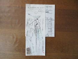 ROUBAIX A. LEBEAU & Cie FABRICANTS DE PAINS D'EPICES 9 RUE GENERAL CHANZY FACTURE ET TRAITE DU 26 AVRIL 1933 TIMBRE FISC - France