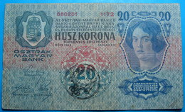 FIUME - RIJEKA 20 KRONEN ND 1918 (OLD DATE 1913), ITALY, CROATIA, AUSTRIA, HUNGARY, SEAL ON REVERSE, ORIGINAL SEAL, RARE - Croatia