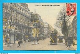 75-Paris- Boulevard Des Capucines-cpa écrite Toillée - Transport Urbain En Surface